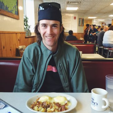 Colin Boyd Beckys Diner Portland Maine we break fast